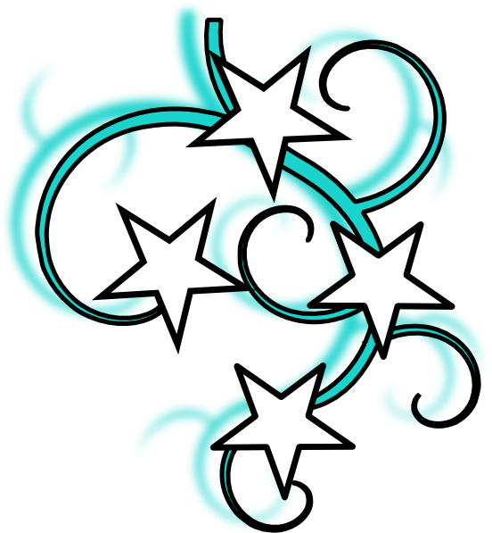 552x597 Teal And White Tattoo With Stars Black Outline Clip Art