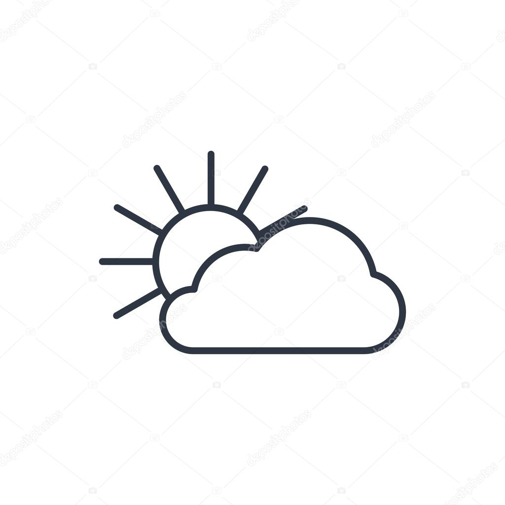 1024x1024 Outline Icon Of Sun And Cloud Stock Vector Icon Craft Studio