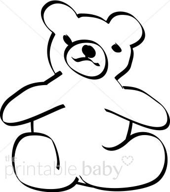 344x388 Black Outline Teddybear Clipart Teddy Bear Baby Clipart