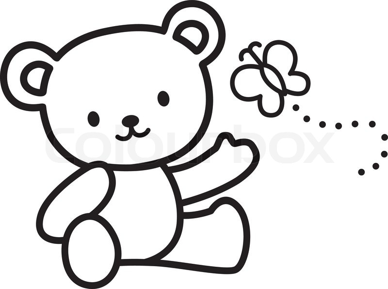 800x596 Teddy Bear Clipart Sketched