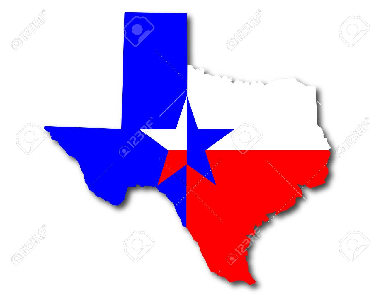1300x1014 Outline Map Of Texas In Red White And Blue With The Lone Star