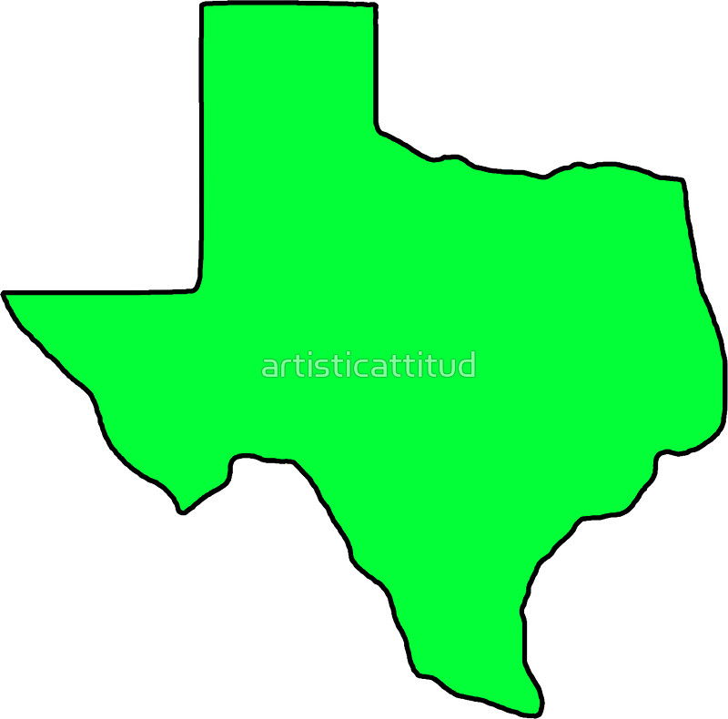 800x790 Texas Neon Green Shape Outline Stickers By Artisticattitud