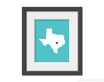 340x270 Texas Outline Print Etsy