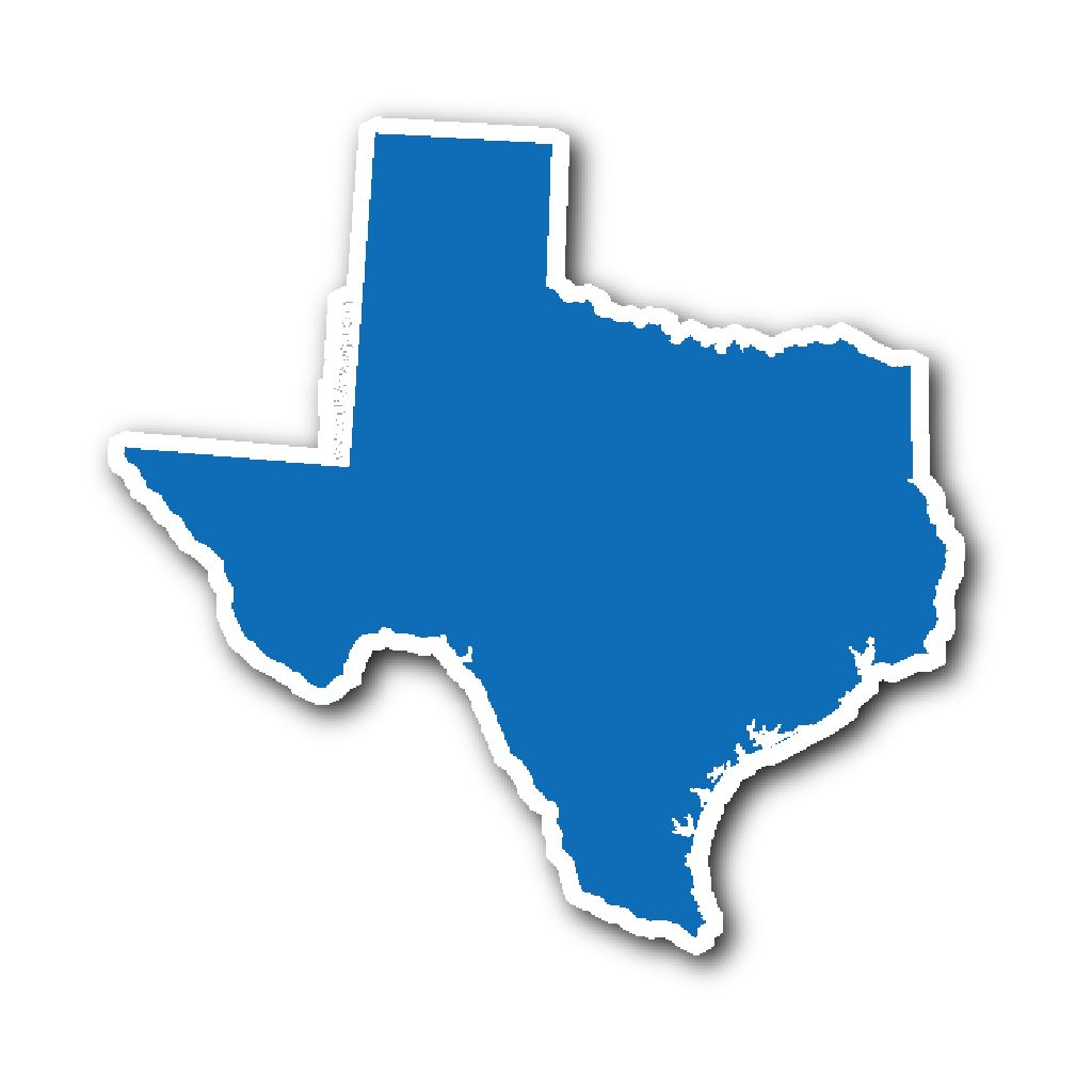 1024x1024 Texas State Shape Sticker Outline Blue Outlines, Texas And Products