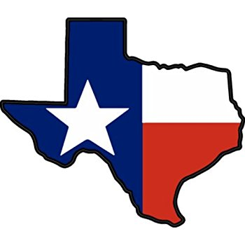 350x350 Texas Shaped Texas Flag Sticker Automotive
