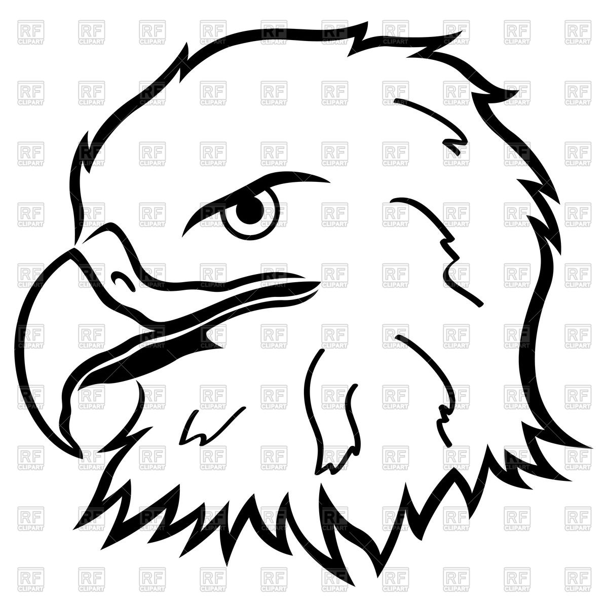 1200x1200 Head Of Eagle, Outline Royalty Free Vector Clip Art Image