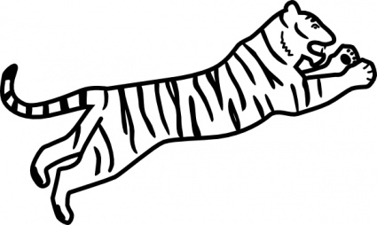 425x254 Tiger Jumping Outline Clip Art Vector, Free Vector Graphics