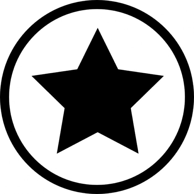 626x626 Star Black Shape In A Circle Outline Favourite Interface Symbol