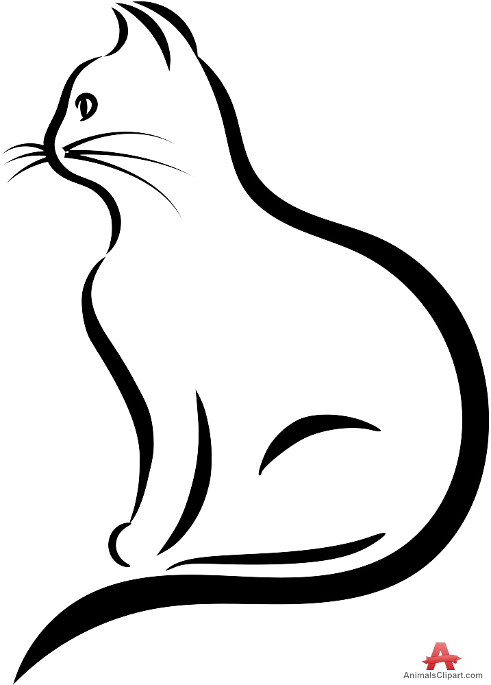 717x999 Cat outline clipart