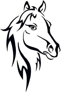 236x355 Horse Head Outline Farmyard Animals Wall Sticker Wall Art Decal