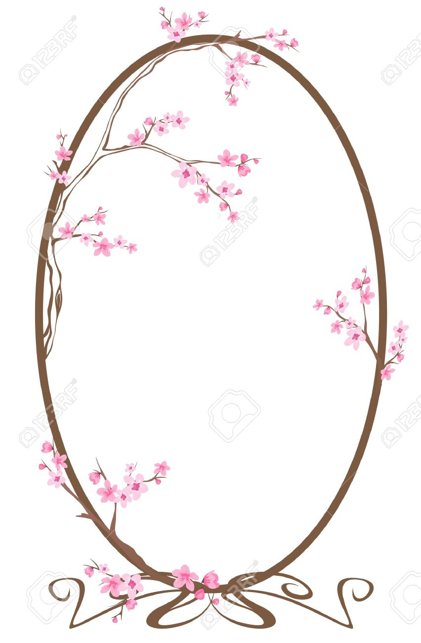 853x1300 Floral Clipart Oval Frame