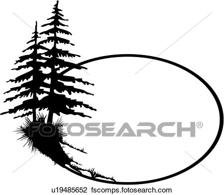 450x393 Clipart Of , Oval, Border, Cameo, Fancy, Forest, Frame, Pine Tree