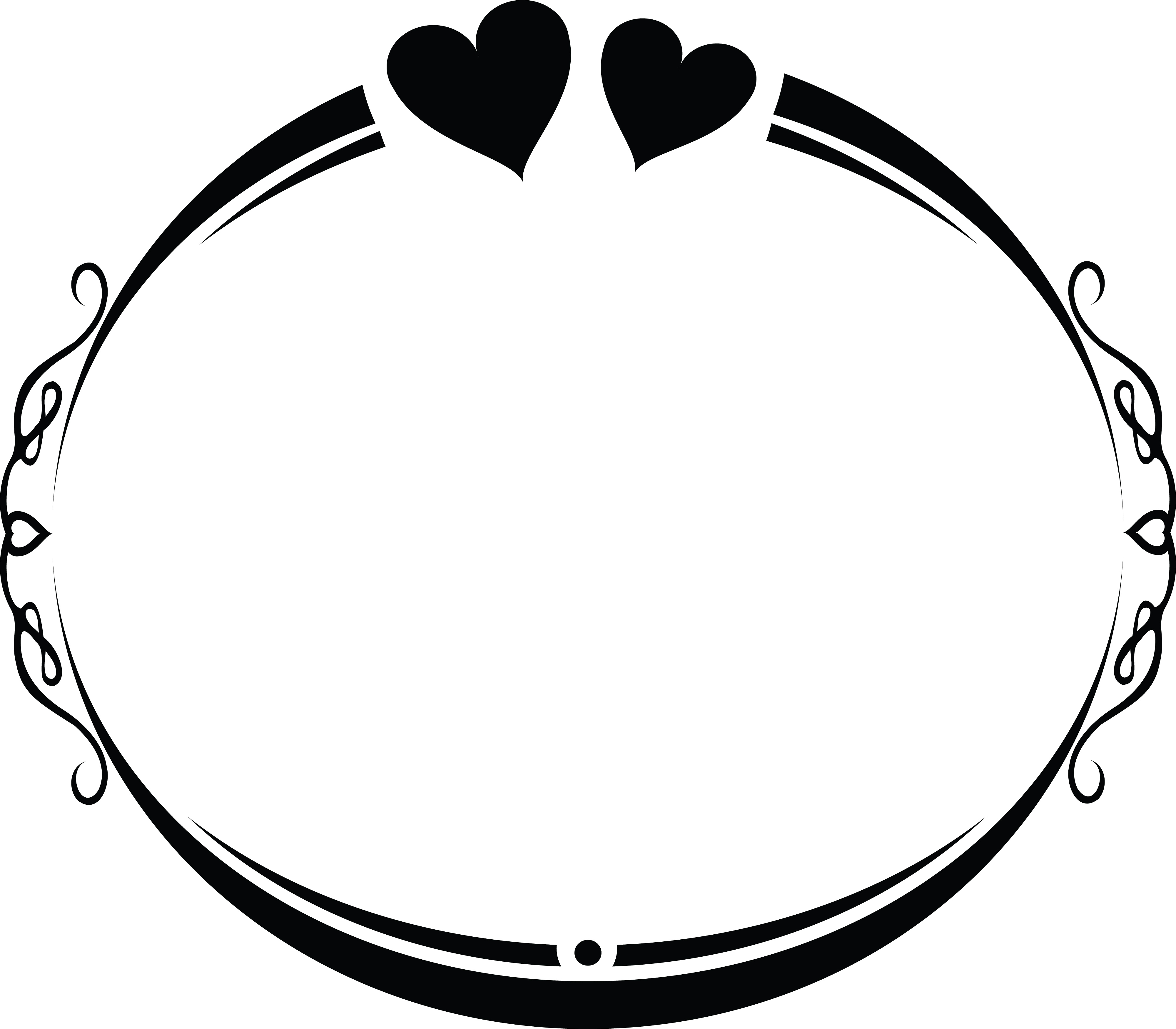 4000x3500 Clipart Of An Oval Wedding Frame Design With Love Hearts