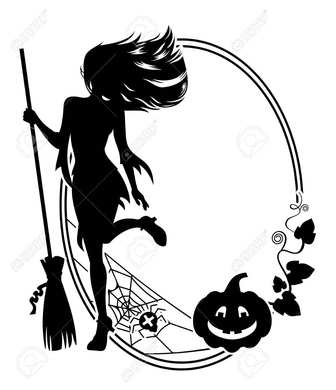 1120x1300 Silhouette Of A Young Girl In The Witch Costume, Broom, Spider
