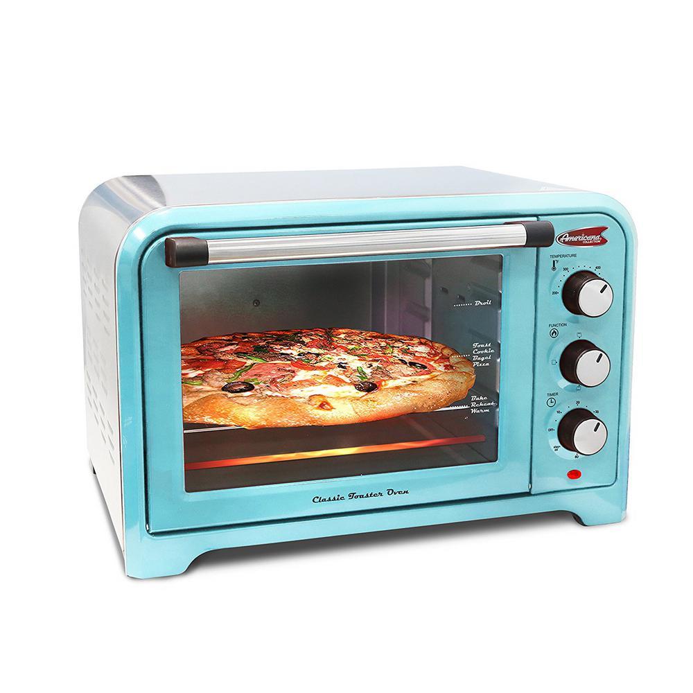 1000x1000 Americana 6 Slice Of Bread Or 12 In. Pizza Retro Toaster Oven Blue