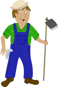 198x297 Cartoon Farmer With Hoe Clip Art