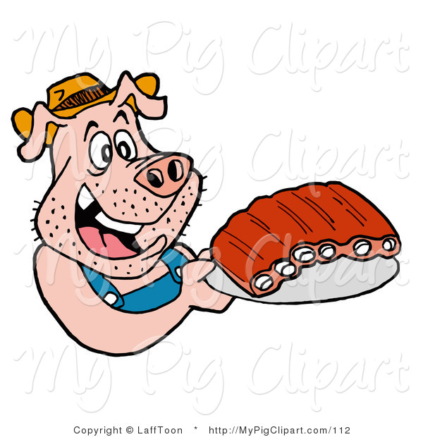 600x620 Swine Clipart Of A Redneck Pig In Overalls, Eating Ribs By