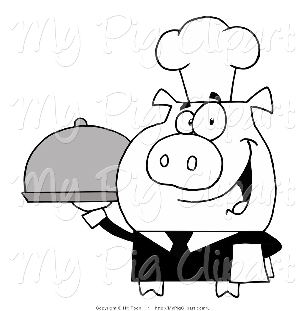 1024x1044 Vector Swine Clipart Of Blacknd White Waiter Pig Serving