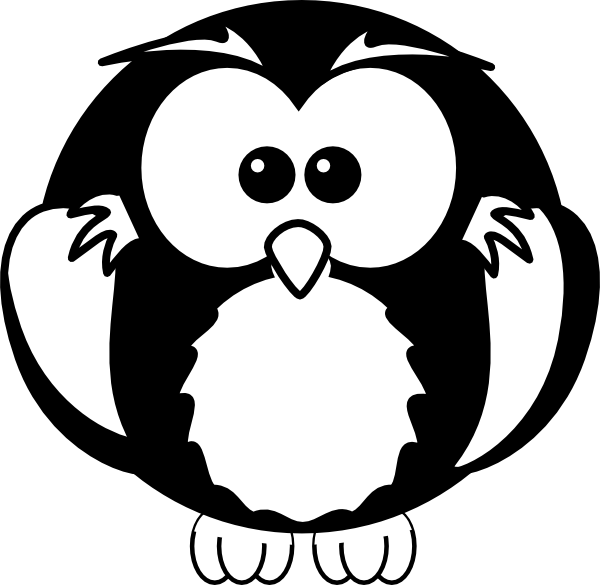 600x585 Black And White Owl Clip Art