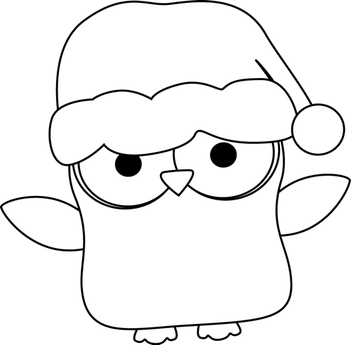 500x491 Black And White Christmas Owl Clip Art