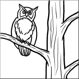 304x304 Clip Art Owl In Tree Bampw I Abcteach