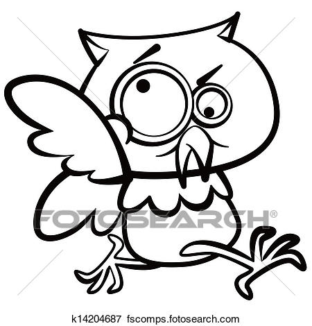 450x470 Clip Art Of Coloring Humor Cartoon Owl Running With White