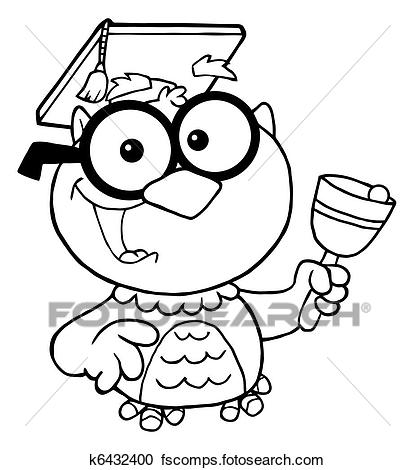 415x470 Clipart Of Professor Owl Ringing A Bell K6432400