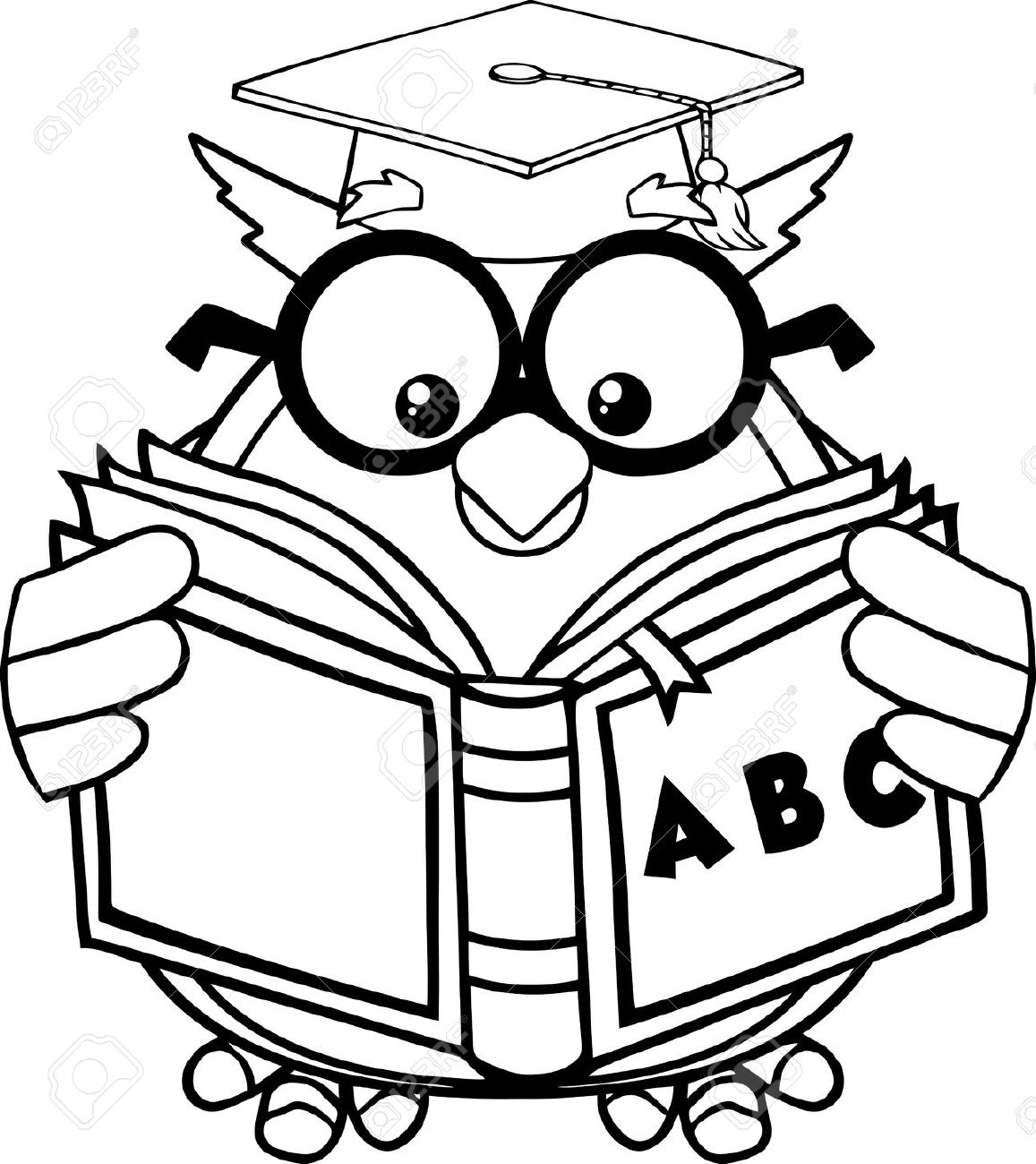 1157x1300 Owl Reading Clipart Black And White Letters Example