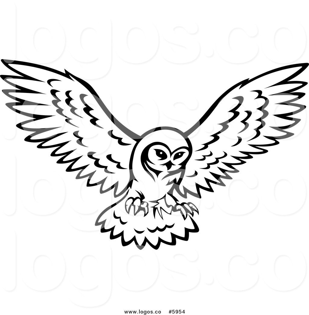 1024x1044 Royalty Free Vector Of A Logo Of A Black And White Owl In Flight