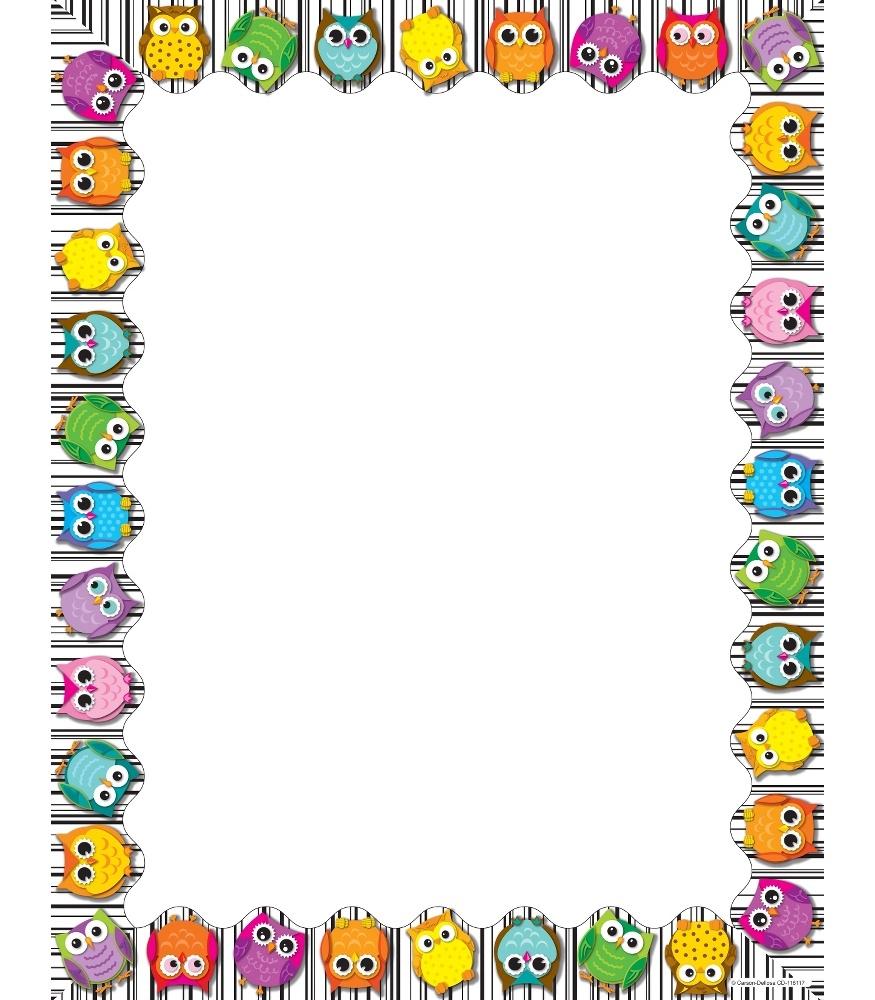 875x1000 Owl Borders Clip Art