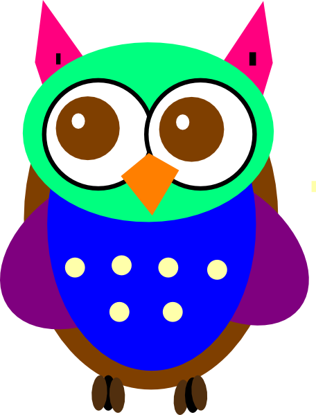 456x599 Colorful Baby Owl Clip Art