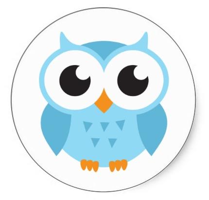 430x412 Cute Blue Cartoon Baby Owl Stickers