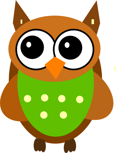 456x599 Green Owl Clip Art