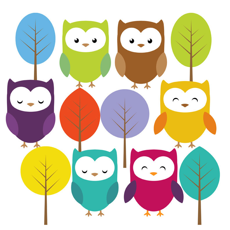 792x792 Cute Owl And Trees Clip Art Set This Set Includes 18