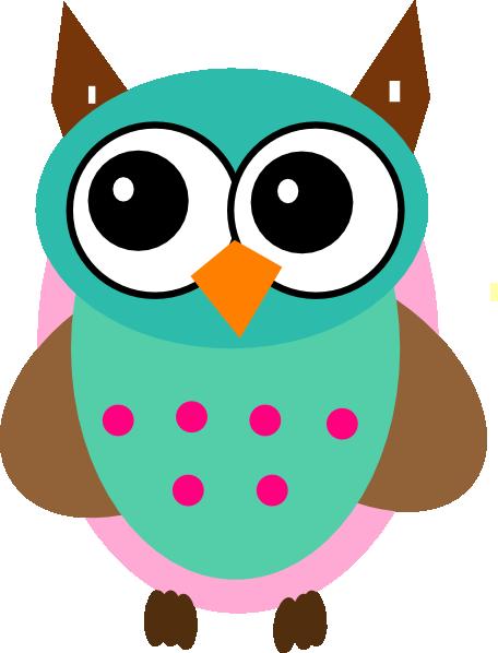 456x598 Aqua Amp Pink Owl Clip Art
