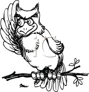 290x300 Black And White Cartoon Of An Owl With His Wing Up Listening