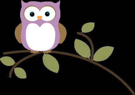 443x311 Owl On A Leafy Branch Clip Art