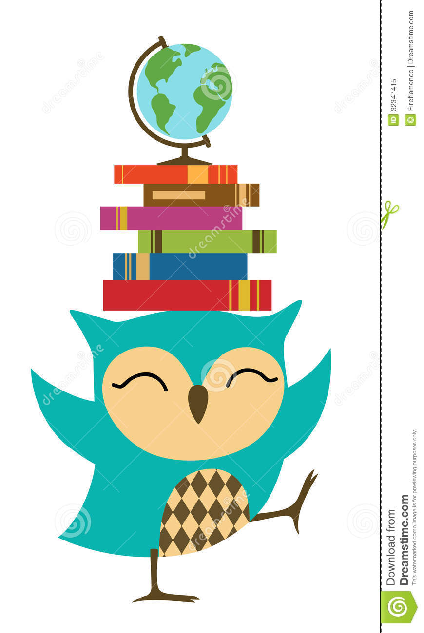 870x1300 Owl With Books Clipart