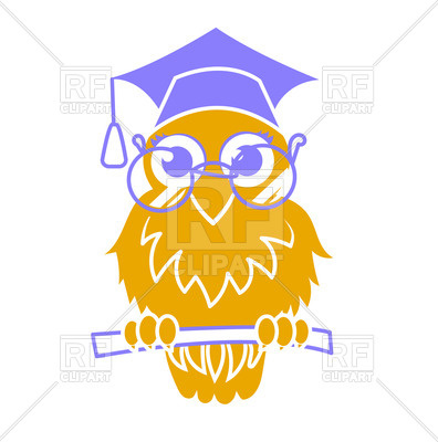 396x400 Icon Back To School Owl Teachers Day Royalty Free Vector Clip Art