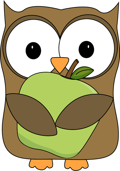 384x550 Owl Holding A Green Apple Clip Art