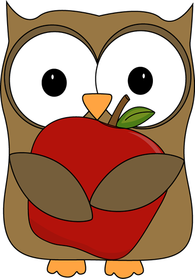 384x550 Owl With A Red Apple Clip Art