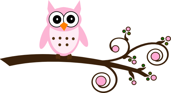 600x325 Pink Owl On Branch Clip Art