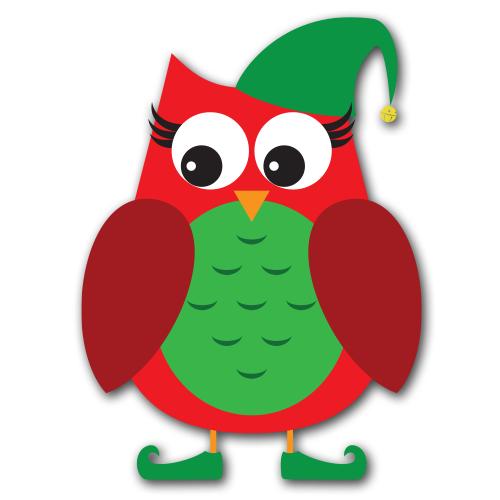 500x500 Christmas Owl Clip Art