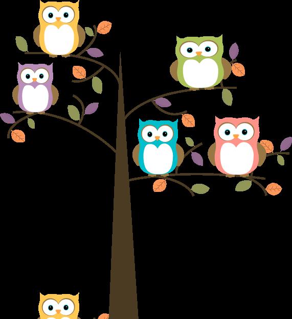 571x625 Colorful Owls In Pretty Tree Clip Art