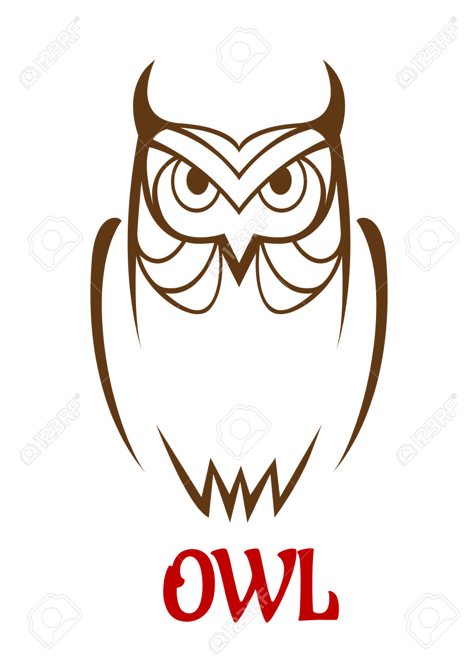 914x1300 Wise Old Owl Vector Sketch With A Frontal Outline View