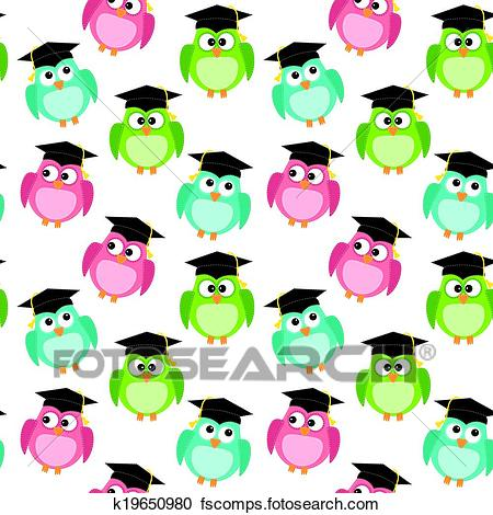 450x470 Clipart Of Owls With Graduation Caps Seamless Pattern K19650980