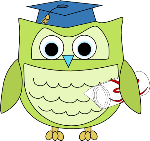 480x450 Graduation Owl With Diploma Clip Art