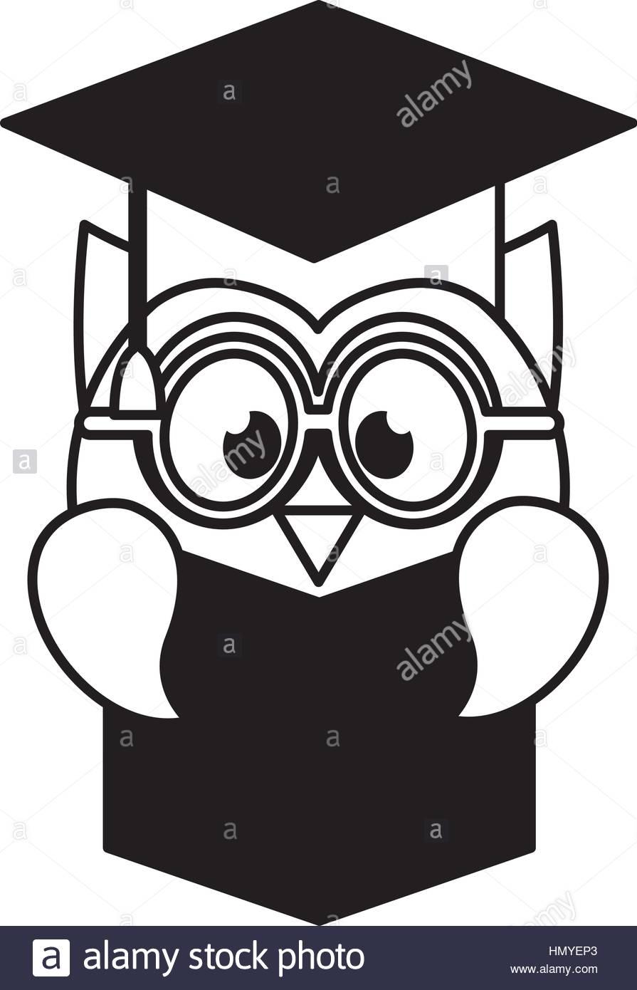 895x1390 Owl With Graduation Hat Vector Illustration Design Stock Vector
