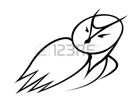 450x332 Flying Owl For Mascot Or Tattoo Design Royalty Free Cliparts