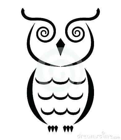 390x450 Owl Outline Drawing